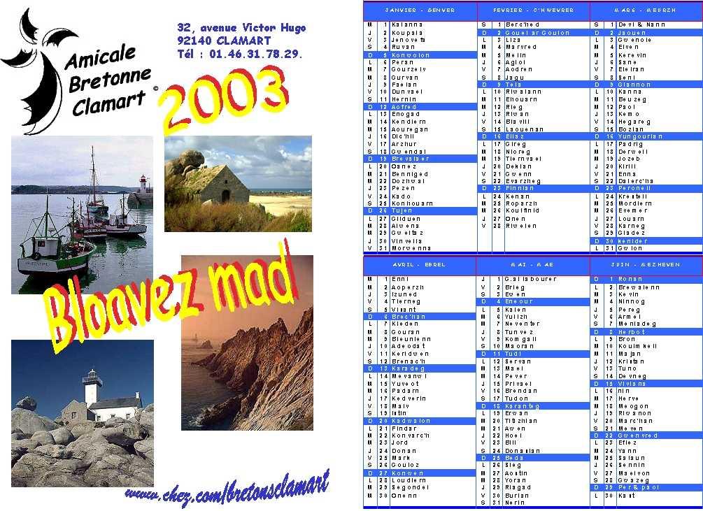 Calendrier Prenoms.Calendrier Breton 2003
